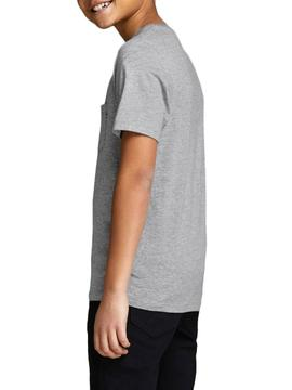 T-Shirt Jack and Jones Pocket Cinzento Menino