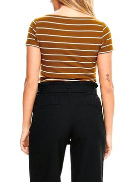 T-Shirt Only Live Stripes Camel Mulher