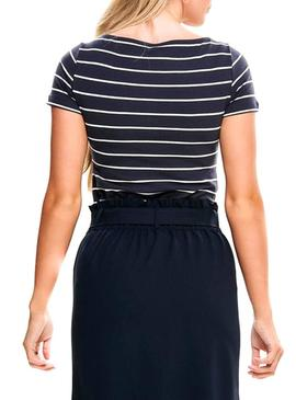 T-Shirt Only Live Stripes Azul Mulher