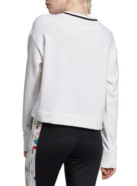 Sweat Adidas Cropped Branco Mulher
