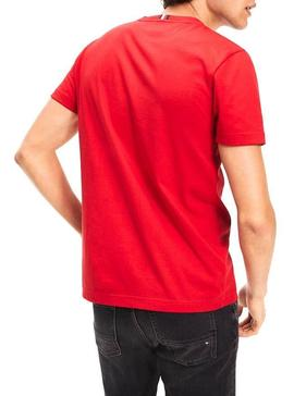 T-Shirt Tommy Hilfiger Strike Through De Vermelho