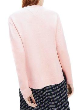 Malha Tommy Jeans rosa costura lateral para Mulher