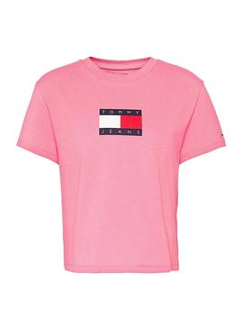 T-Shirt Tommy Jeans Flag Rosa para Mulher