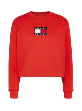Sweat Tommy Jeans Crew Vermelho para Mulher