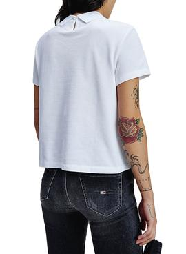 Polo Tommy Jeans Linear Logo Branco para Mulher