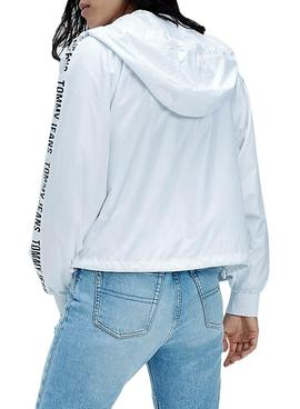 Casaca Jeans Tommy Tape Sleeve Branco Mulher
