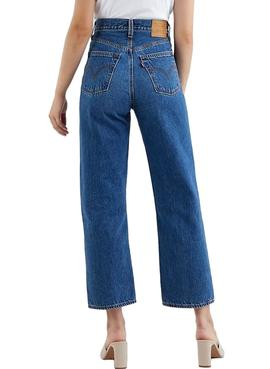 Jeans Levis Ribcage Straight Azul Mulher